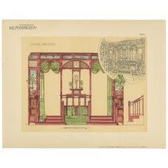 Pl. 11 Antique Print of Furniture by Kramer 'circa 1910'