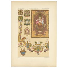Pl. 112 Antique Print of 17th and 18th Century Tapestries by Racinet, circa 1890