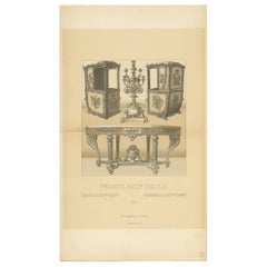 Pl 112 Antique Print of French 18th Century Furniture by Racinet