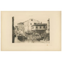 Pl. 12 Antique Print of a Boatbuilding yard on the Bottesela Canal, circa 1890