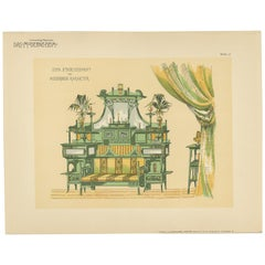 Pl. 12 Antique Print of a Sofa and Furniture by Kramer 'circa 1910'