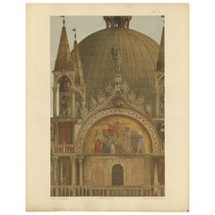 Pl. 12 Antique Print of the Portal of Sant'Alipio of the Basilica of San Marco