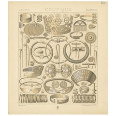 Pl. 120 Antique Print of Celtic-Scandinavian Jewelry of Racinet, 'circa 1880'