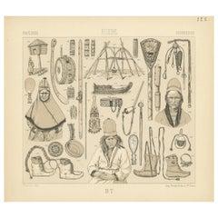 Pl. 122  Antique Print of Swedish Tools of Racinet, 'circa 1880'
