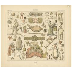 Pl. 123 Antique Print of Swedish Objects of Racinet, 'circa 1880'