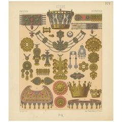 Pl. 124 Antique Print of Swedish Jewelry of Racinet, 'circa 1880'