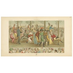 Pl. 125 Antique Print of French Scene by Racinet, 'circa 1880'