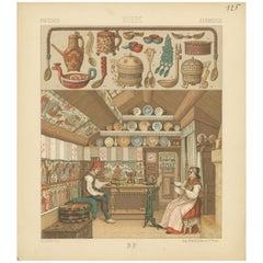 Pl. 125 Antique Print of Swedish Interior of Racinet, 'circa 1880'