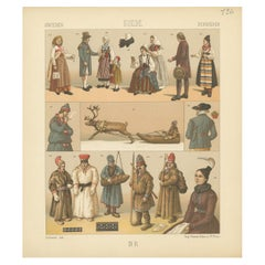 Pl. 126 Antique Print of Swedish Costumes of Racinet, 'circa 1880'