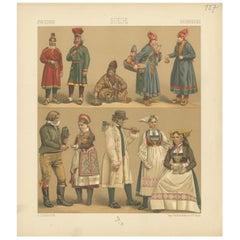 Pl. 127 Antique Print of Swedish Costumes of Racinet, 'circa 1880'