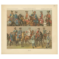 Pl 128 Antique Print of French 18th Century Military Outfits by Racinet