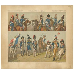 Pl. 129 Antique Print of French 18th Century Military Scenes by Racinet