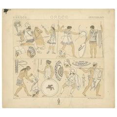 Pl. 13 Antique Print of Greece Military Scenes by Racinet, 'circa 1880'