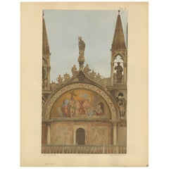 Pl. 13 Antique Print of the Portal of San Pietro of the Basilica of San Marco