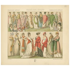Pl. 131 Antique Print of French 18th-19th Century Women's Outfits by Racinet