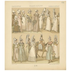 Pl. 133 Antique Print of French 19th Century Women's Outfits by Racinet