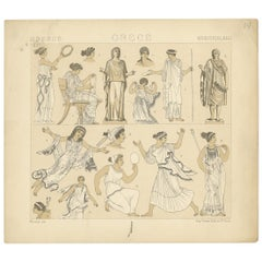 Pl. 14 Antique Print of Greece Costumes by Racinet, 'circa 1880'