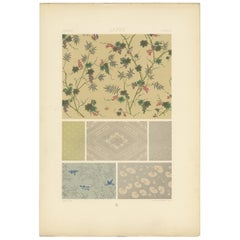 Pl. 14 Antique Print of Japanese Printed Wallpapers by Racinet, 'circa 1890'