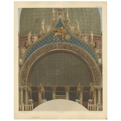 Pl. 14 Antique Print of the Main Portal of the Basilica of San Marco, 1881