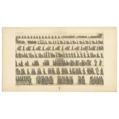 Pl. 149 Antique Print of Holland Military Parade by Racinet, 'circa 1880'