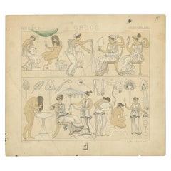 Pl. 15 Antique Print of Greece Bathroom Scenes by Racinet, 'circa 1880'