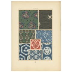 Pl. 15 Antique Print of Japanese Motifs from Textiles by Racinet 'circa 1890'
