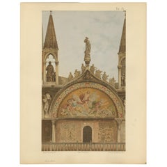 Pl. 15 Antique Print of the Portal of San Clemente of the Basilica of San Marco
