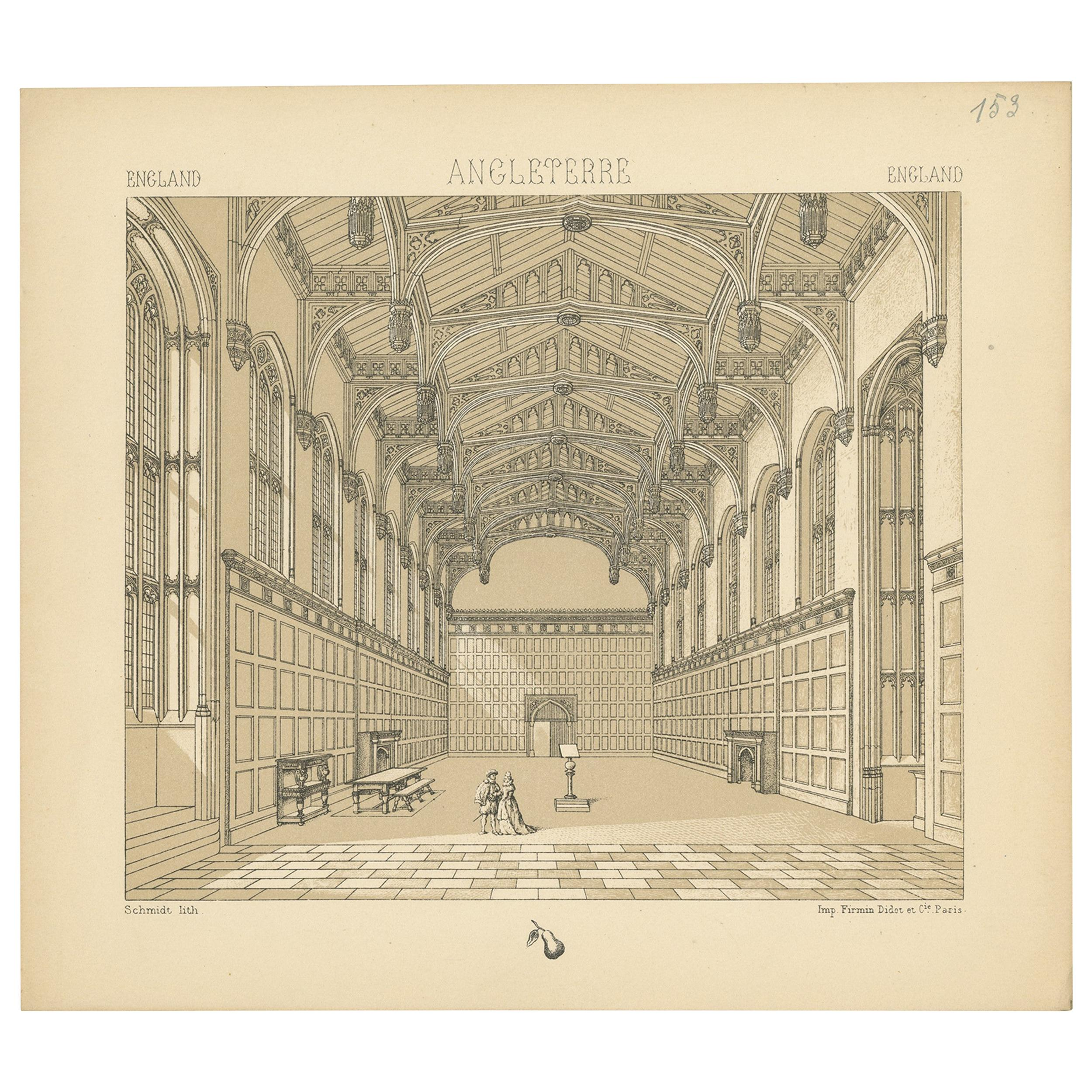 Pl. 153 Antique Print of English Architecture by Racinet, 'circa 1880'