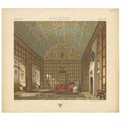 Pl. 154 Antique Print of English Living Room by Racinet, 'circa 1880'