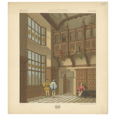 Pl. 155 Antique Print of English Waiting Room by Racinet, 'circa 1880'