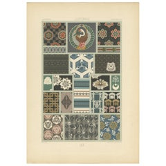 Pl. 16 Antique Print of Japanese Motifs from Textiles by Racinet, 'circa 1890'