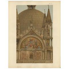 Pl. 16 Antique Print of the Portal of the Zen Chapel of the Basilica San Marco