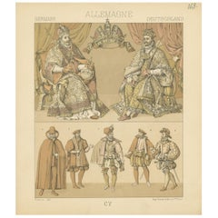 163 Antique Print of German Royalty Outfits by Racinet, 'circa 1880'