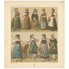 Pl. 165 Antique Print of Swiss Women's Outfits by Racinet, 'circa 1880'
