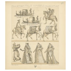 Pl. 168 Antique Print of 16th Century Italian Scenes by Racinet