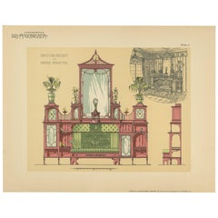 Pl. 17 Antique Print of a Sofa and Furniture by Kramer 'circa 1910'