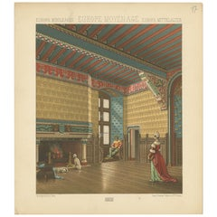 Pl. 17 Antique Print of European Middle Ages Living Room by Racinet, circa 1880