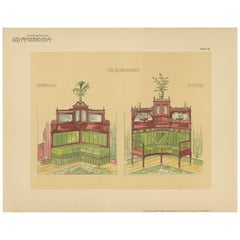Pl. 18 Antique Print of Corner Furniture by Kramer 'circa 1910'