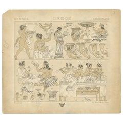 Pl. 18 Antique Print of Greece Scenes by Racinet, 'circa 1880'