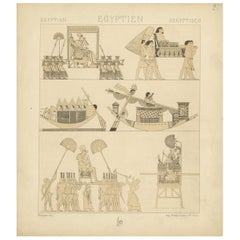 Pl. 2 Antique Print of Egyptian Decorative Objects by Racinet, 'circa 1880'