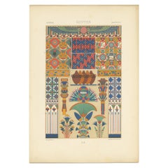 Pl. 2 Antique Print of Egyptian Ornaments by Racinet 'circa 1890'