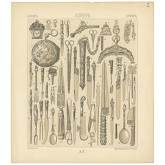 Pl. 2 Antique Print of European Weapons and Jewelry Objects, Racinet, circa 1880