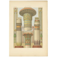 Pl. 2 Print of Egyptian Columns with Plant Motifs by Racinet 'circa 1890'