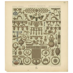 Pl. 21 Antique Print of Greece-Roman Decorative Objects by Racinet, 'circa 1880'