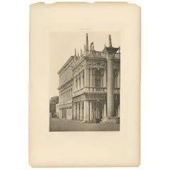 Pl. 21 Antique Print of the Column of San Todaro in Venice, circa 1890