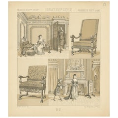 Pl. 22 Antique Print of French XVIIth Century Furniture by Racinet, circa 1880