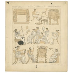 Pl. 22 Antique Print of Greece-Roman Scenes by Racinet, 'circa 1880'