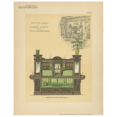 Pl. 28 Antique Print of Sofa Furniture for a Dining Room by Kramer, circa 1910