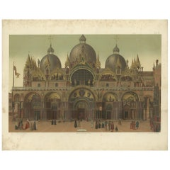 Pl. 28 Antique Print of the Main Facade of the Basilica of San Marco '1881'