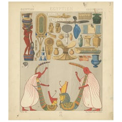 Pl. 3 Antique Print of Egyptian Decorative Objects by Racinet, 'circa 1880'